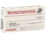 Winchester USA 223 Remington 55 Grain Full Metal Jacket Ammunition