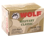 Wolf Military Classic 223 Remington Ammo 55 Grain FMJ Steel Case