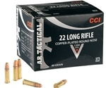 CCI AR Tactical Ammo 22 Long Rifle 40 Grain Copper Plated Round Nose Ammunition
