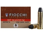 Fiocchi Cowboy Action 357 Magnum Ammo 158 Grain Lead Round Nose Flat Point