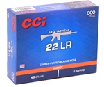CCI AR Tactical 22 Long Rifle Ammo 40 Grain Copper Plated Round Nose 300 Rounds