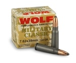 Wolf Military Classic 7.62x39mm Ammo 124 Grain Soft Point
