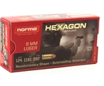Geco 9mm Luger Hexagon Ammo 124 Grain Jacketed Hollow Point