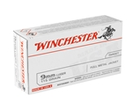 Winchester USA 9mm Luger Ammo 115 Grain Full Metal Jacket