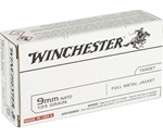 Winchester USA 9mm Luger Ammo NATO 124 Grain Full Metal Jacket
