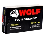 Wolf Polyformance 223 Remington Ammo 55 Grain Full Metal Jacket