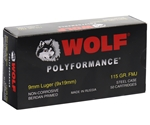 Wolf Polyformance 9mm Luger Ammo 115 Grain Full Metal Jacket
