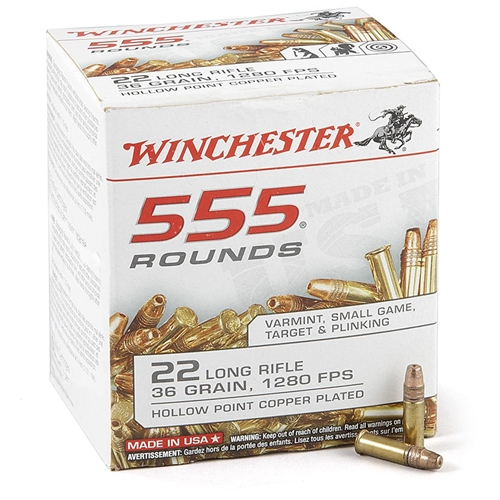 Winchester 22 Long Rifle 36 Gr Plated Lead Hollow Point 555 Round