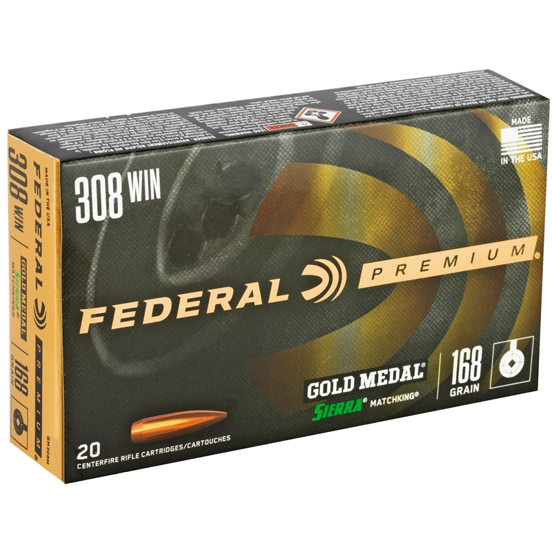 Federal Gold Medal 308 Winchester Ammo 168 Grain Sierra MKHP