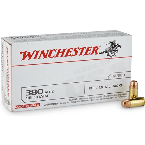 Winchester USA 380 ACP AUTO Ammo 95 Grain Full Metal Jacket