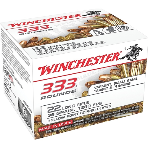 Winchester 22 Long Rifle Ammo 36 Grain Plated Lead Hollow Point 333 Rounds Bulk
