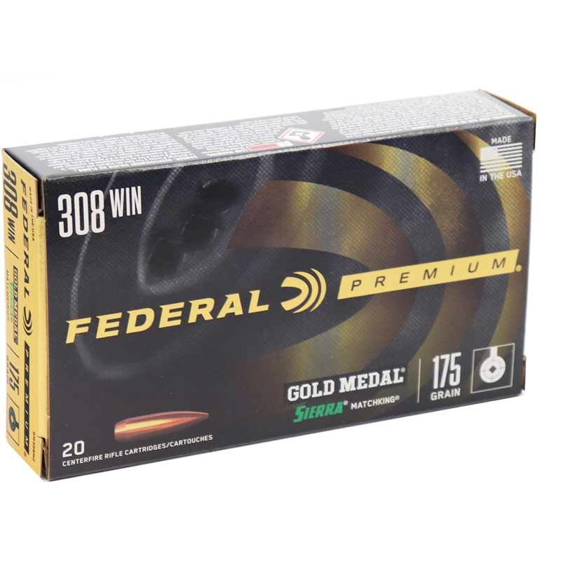 Federal Gold Medal 308 Winchester Ammo 175 Grain Sierra MKHP