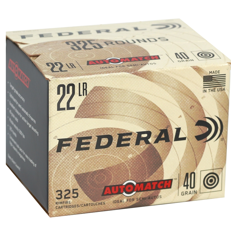 Federal AutoMatch Target Ammo 22 Long Rifle 40 Grain Lead Round Nose Ammunition