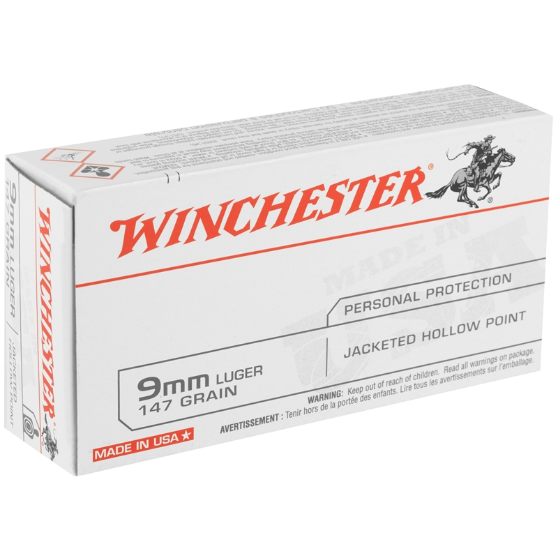 Winchester USA 9mm Luger Ammo 147 Grain Jacketed Hollow Point