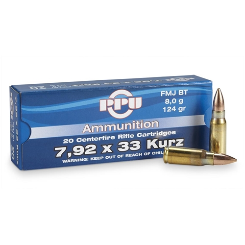Prvi Partizan 7.62x33mm Kurz Mauser 124 Grain Full Metal Jacket