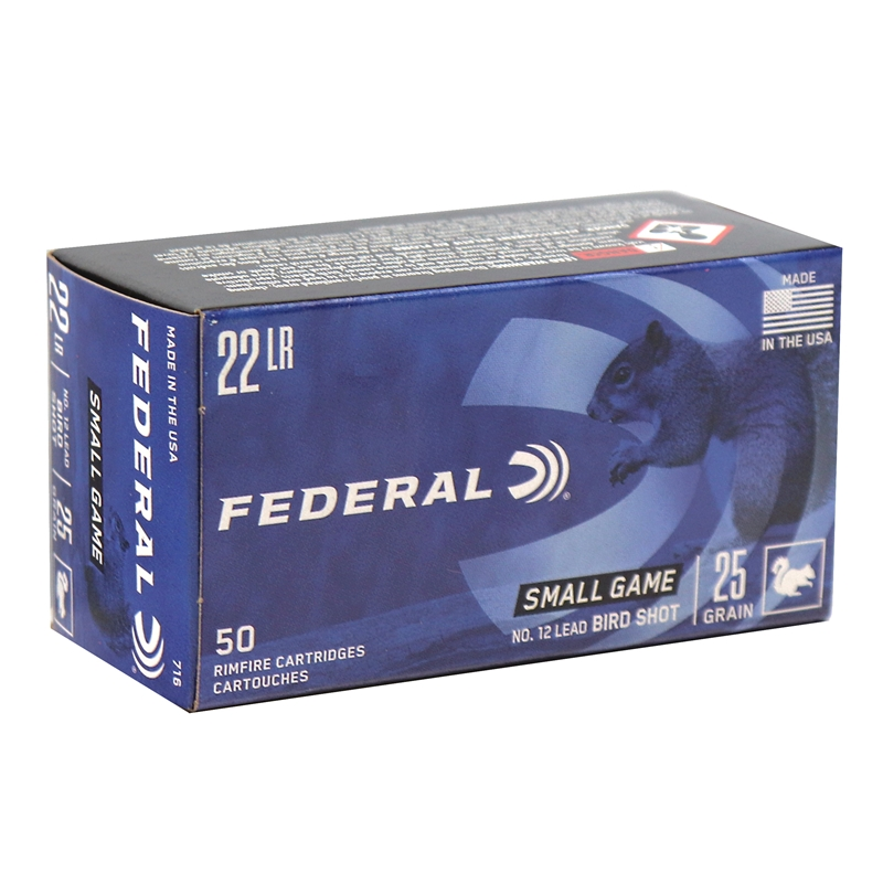 Federal Game-Shok 22 Long Rifle Bird Shot Ammo 25 Grain #12 Shot Shotshell