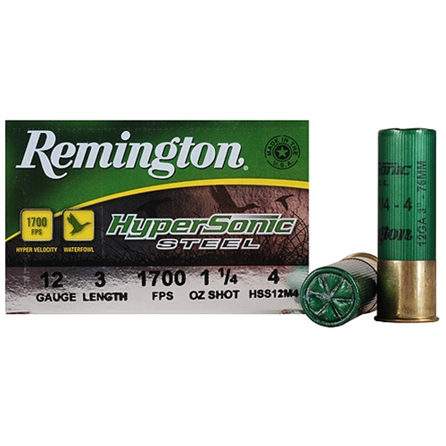 "Remington HyperSonic 12 Gauge 3"" 1-1/4 oz #4 Non-Toxic Steel Shot Ammunition"