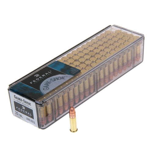 Federal Game Shok 22 Long Rifle 40 Grain Copper Plated Solid Ammunition