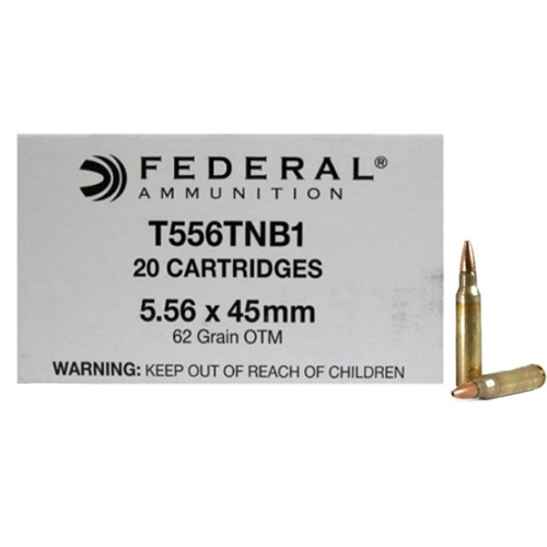 Federal Lake City 5.56x45mm MK318 Ammo 62 Grain SOST T556TNB1