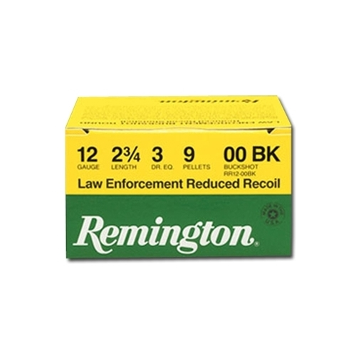 "Remington Law Enforcement Reduced Recoil 12 Gauge Ammo 2-3/4"" 00 Buckshot 9 Pellets"