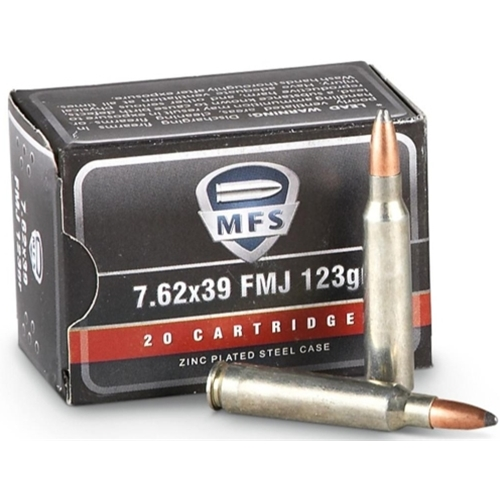 MFS 7.62x39mm Russian Ammo 125 Grain Soft Point Ammunition