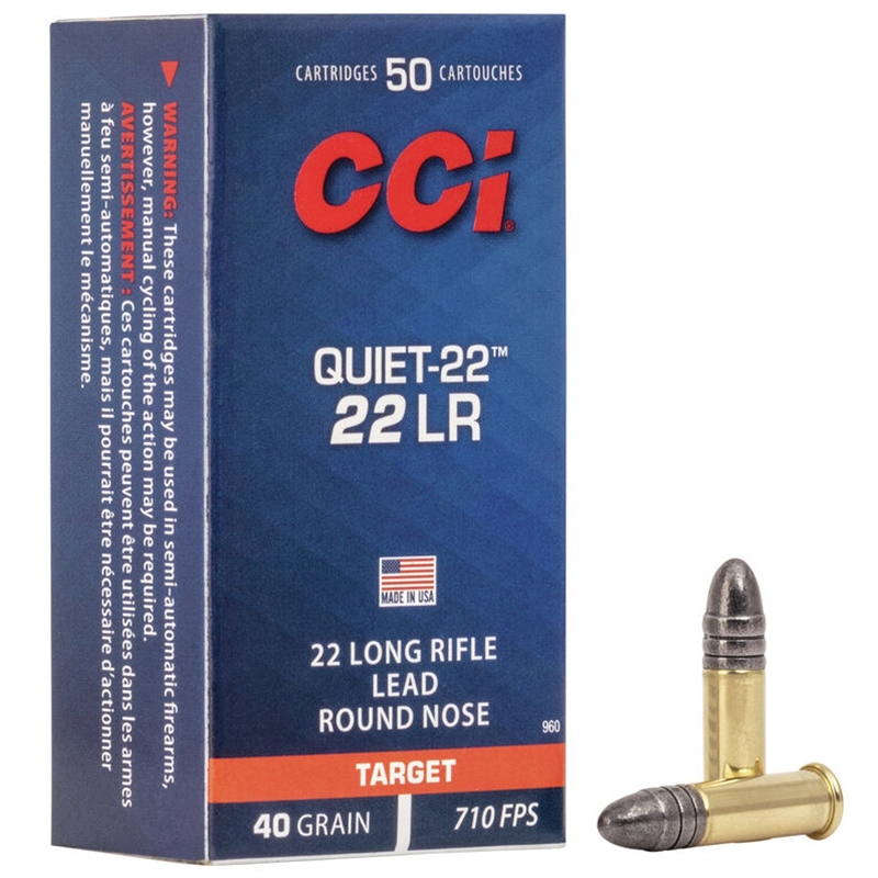 CCI Quiet 22 Long Rifle Ammo 40 Grain Solid Lead Round Nose