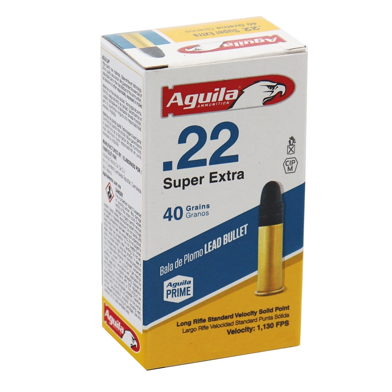 Aguila SuperExtra 22 Long Rifle Ammo 40 Grain Standard Velocity Solid Point