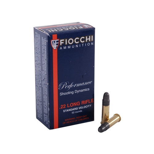 Fiocchi 22 Long Rifle 40 Grain Plated Lead Round Nose Ammunition