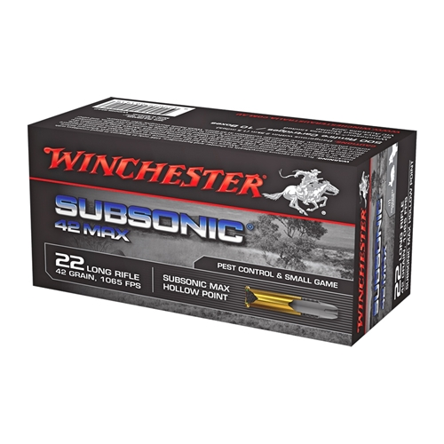 Winchester 42 Max Ammo 22 Long Rifle 42 Grain Subsonic Lead Round Ammunition