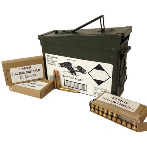 Federal Lake City 7.62x51mm 175 Grain Match BTHP 240 Rds in Can