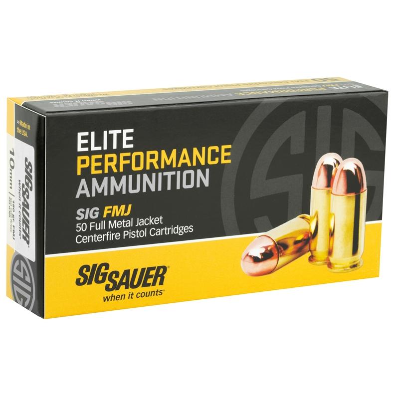 22 50$ Sig Sauer Elite Performance 10mm Auto Ammo 180 Gr FMJ