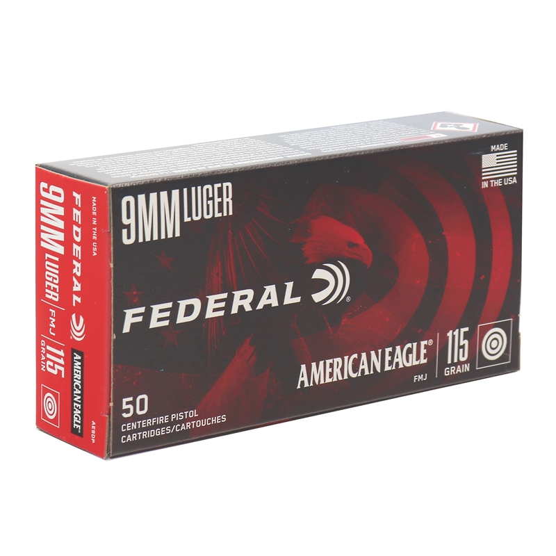 Federal American Eagle 9mm Luger Ammo 115 Grain Full Metal Jacket