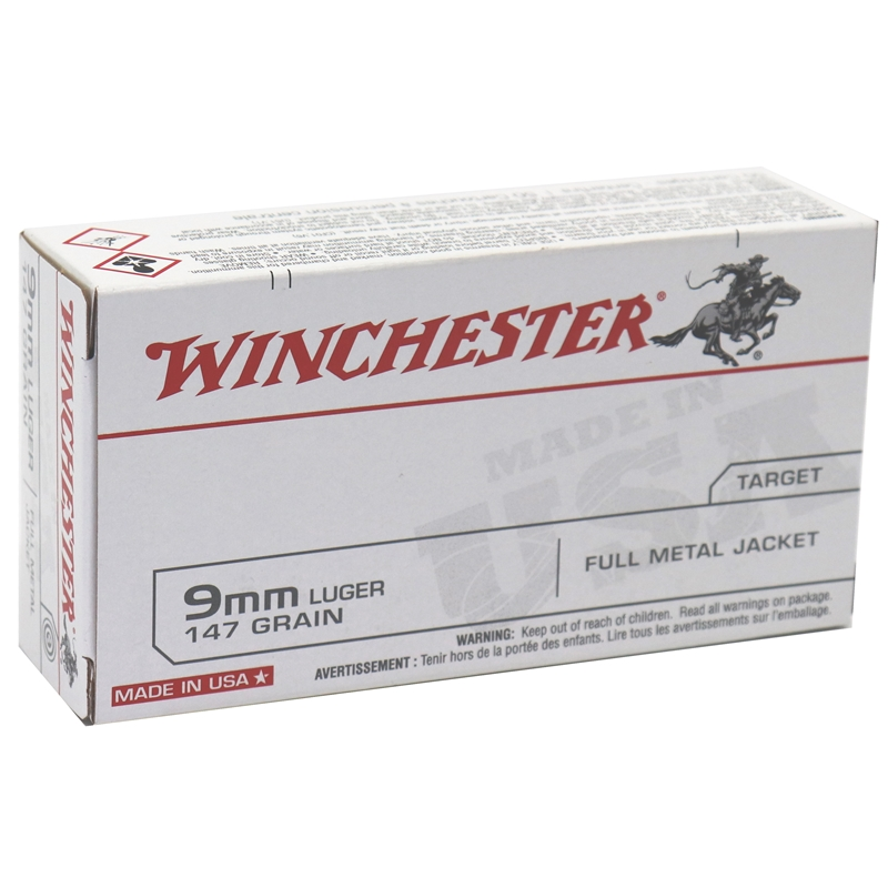 Winchester USA 9mm Luger Ammo 147 Grain Full Metal Jacket
