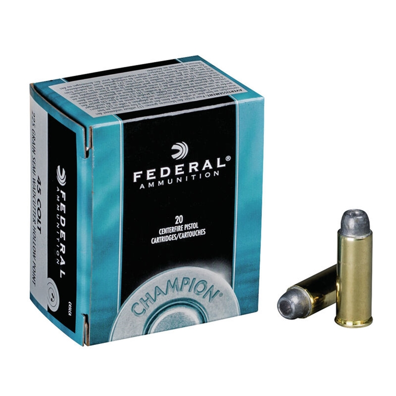 Federal Champion 45 Long Colt Ammo 225 Grain Semi-Wadcutter HP