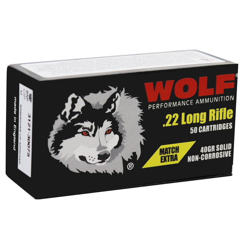 Wolf Match Extra 22 Long Rifle Ammo 40 Grain Lead Round Nose