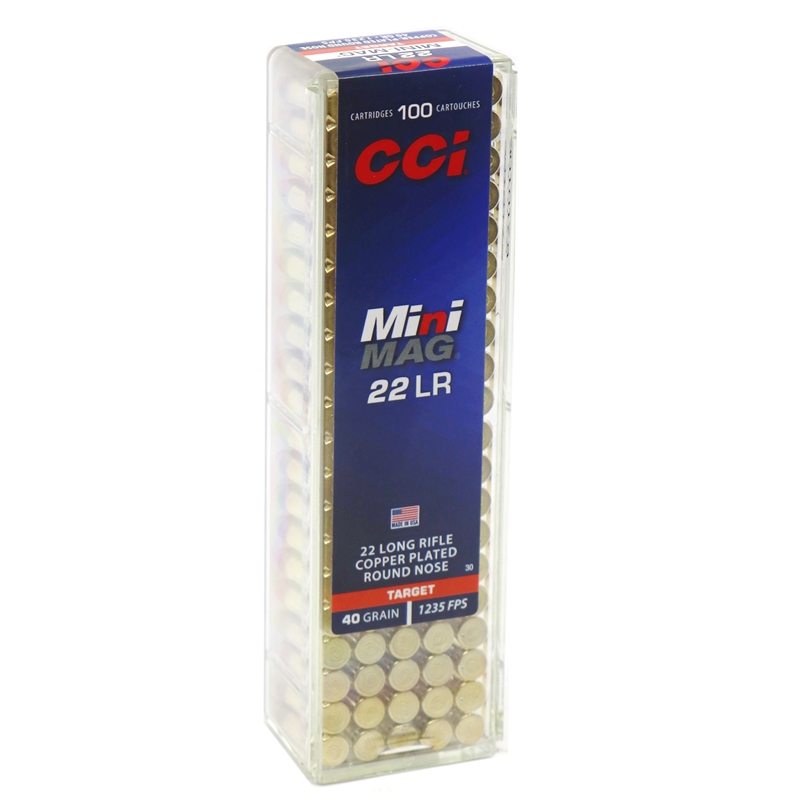 CCI Mini-Mag 22 LR Ammo 40 Grain High Velocity Point Round Nose